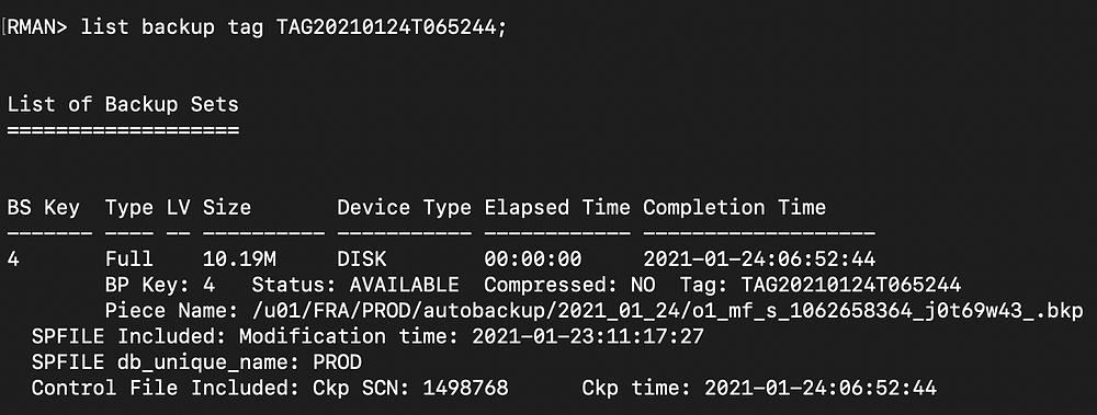 rman duplicate database pitr - rman list fourth backup tag