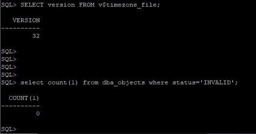 oracle 12c to 19c database upgrade - verify timezone and invalid objects