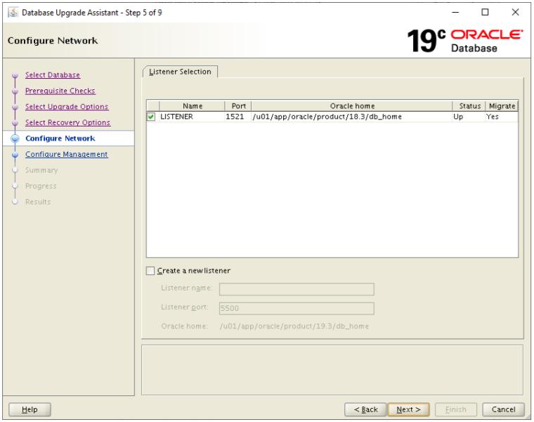 database upgrade assistant - configure network