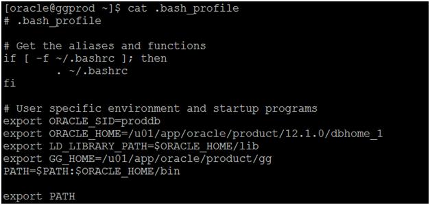 install oracle 12c golden gate - set bash profile