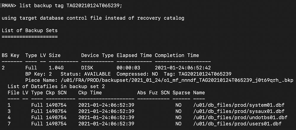 rman duplicate database pitr - rman list second backup tag