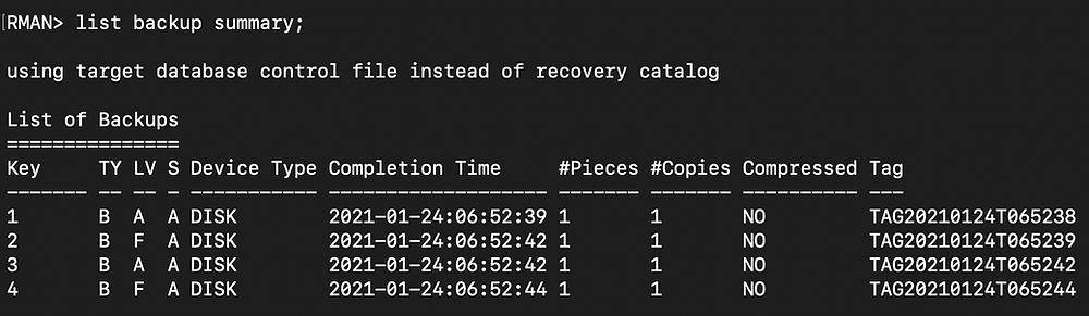 rman duplicate database pitr - rman list backup summary