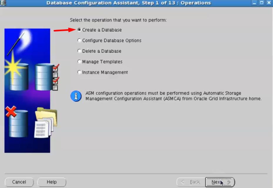 database configuration assistant - create a database