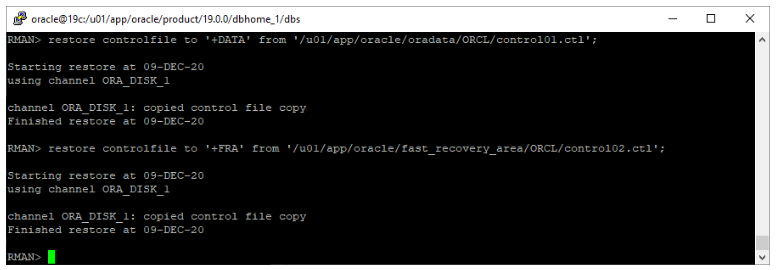 oracle non-asm to asm migration - restore controlfile to asm