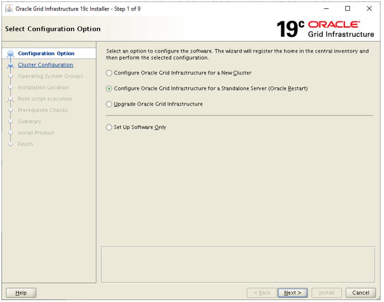 oracle grid infrastructure 19c installer - configure oracle grid infrastructure for a standalone server