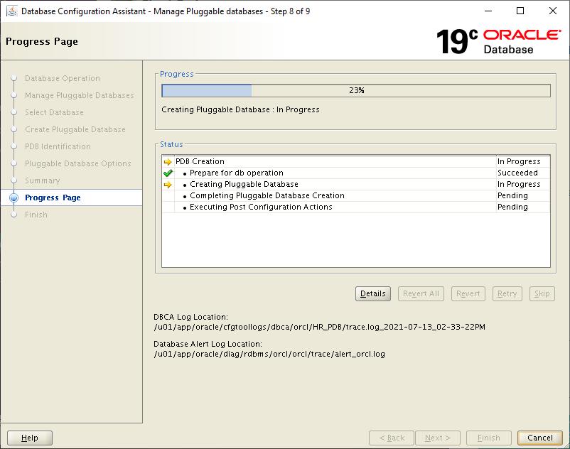 plug the pdb into 19c cdb - DBCA Progress