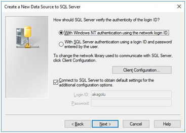 create a new data source to sql server - connect to sql server