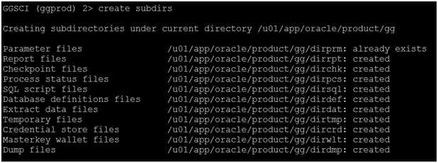 install oracle 12c golden gate - create subdirs