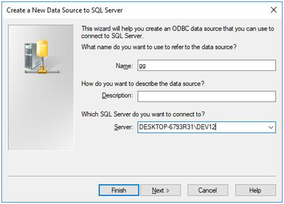 create a new data source to sql server - odbc data source that connect to sql server