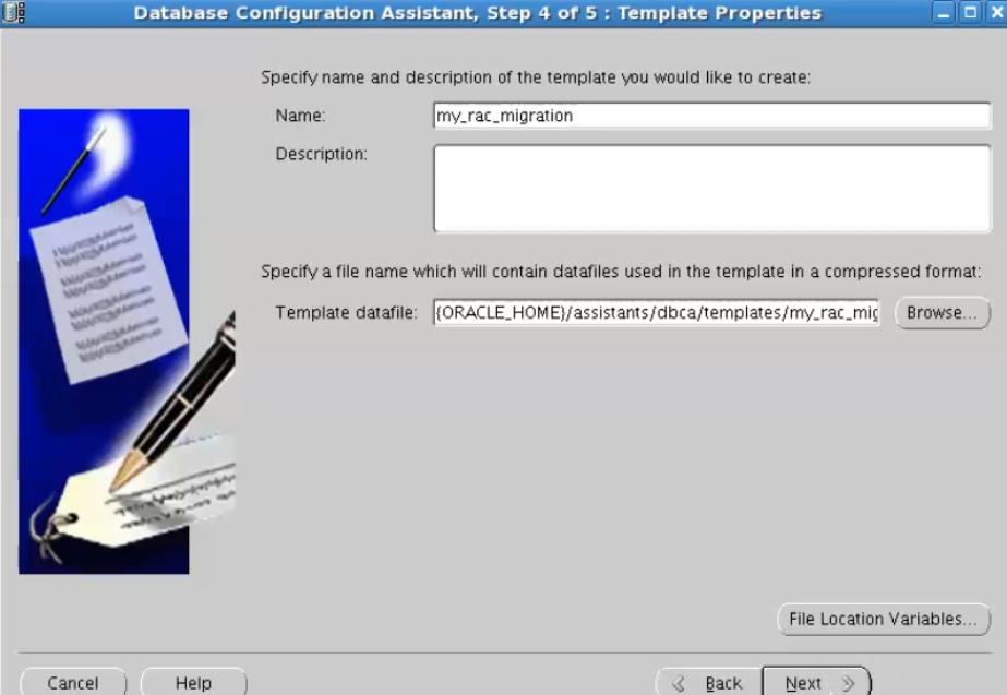 database configuration assistant - template datafile