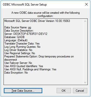 odbc microsoft sql server setup - new odbc data source configuration