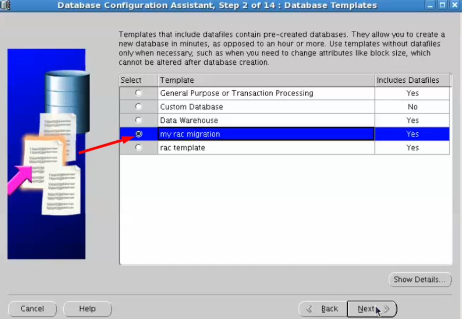 database configuration assistant - select template files