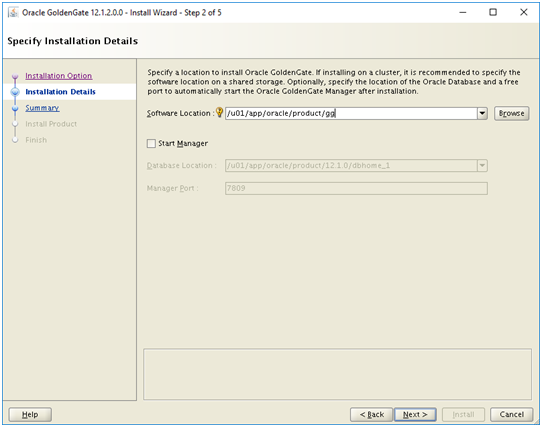 install oracle 12c golden gate - software location