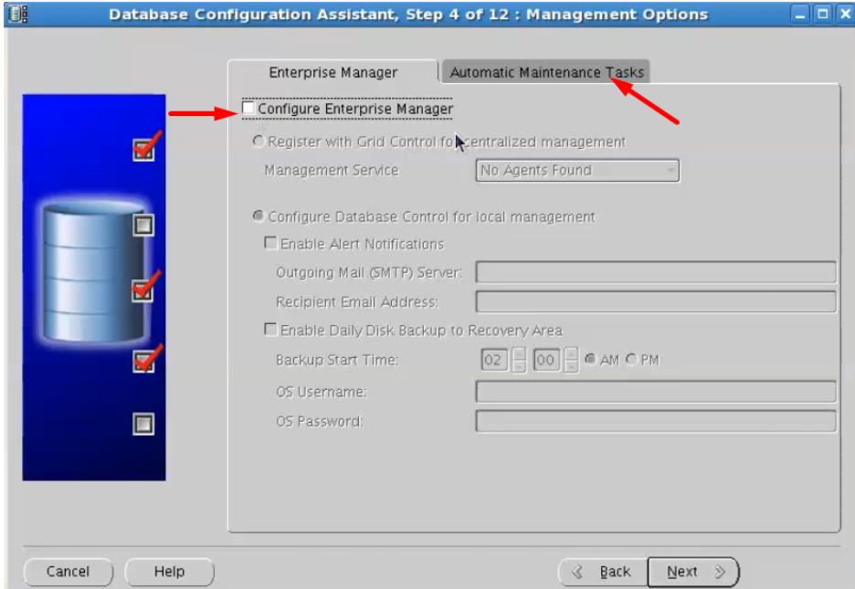 database configuration assistant - disable configure enterprise manager