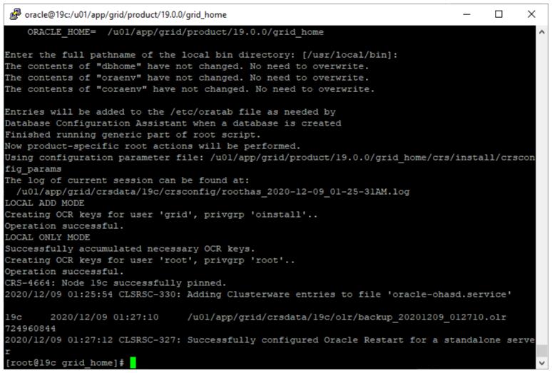 oracle grid infrastructure 19c installer - run root scripts