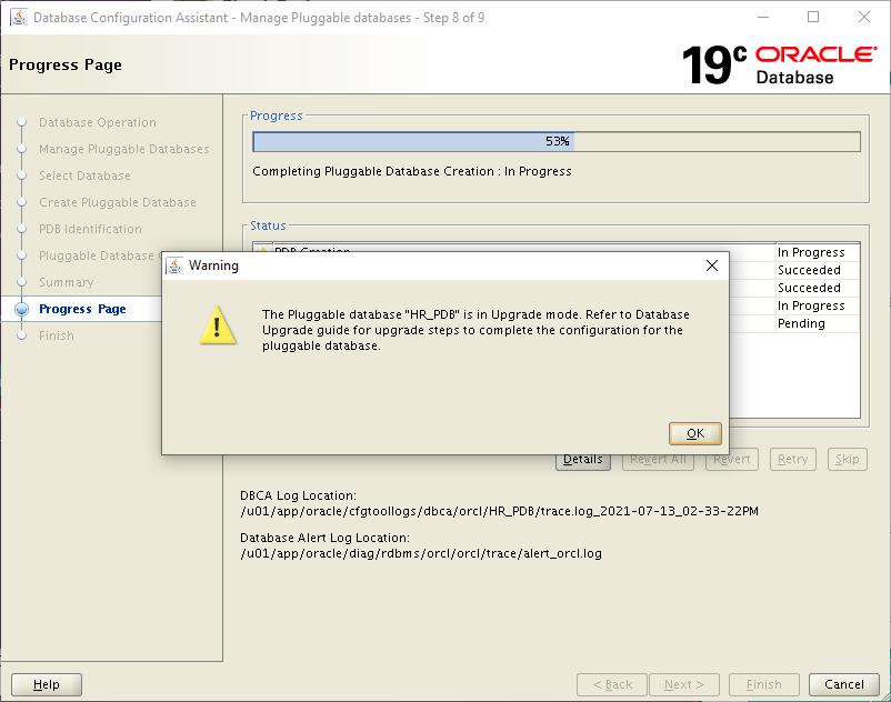 plug the pdb into 19c cdb - open PDB in upgrade mode