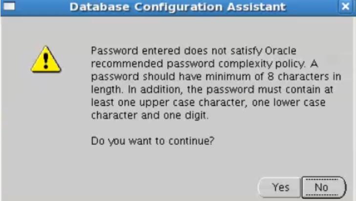 database configuration assistant - sys password warning