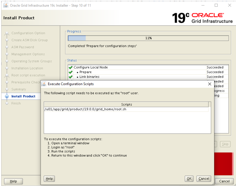 oracle grid infrastructure 19c installer - execute configuration scripts