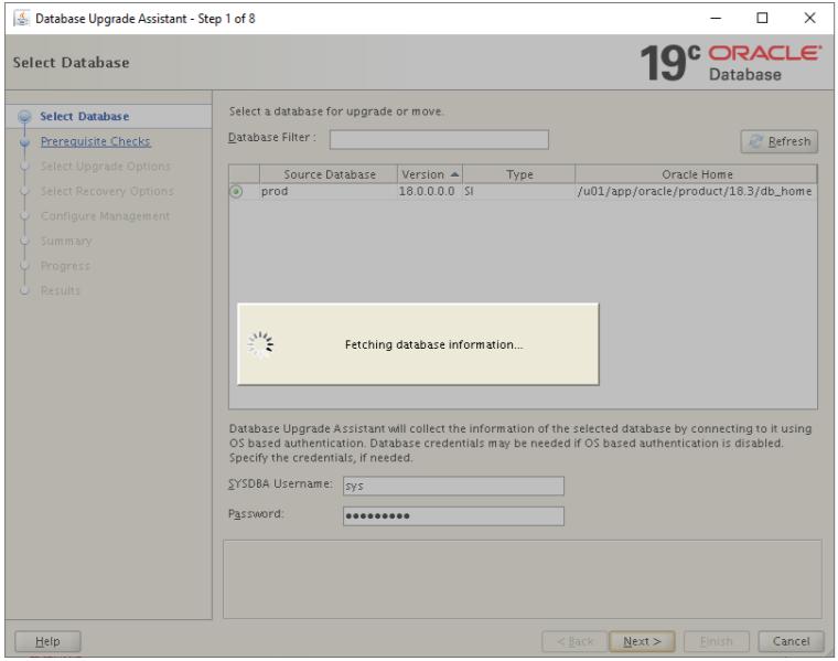 database upgrade assistant - select database