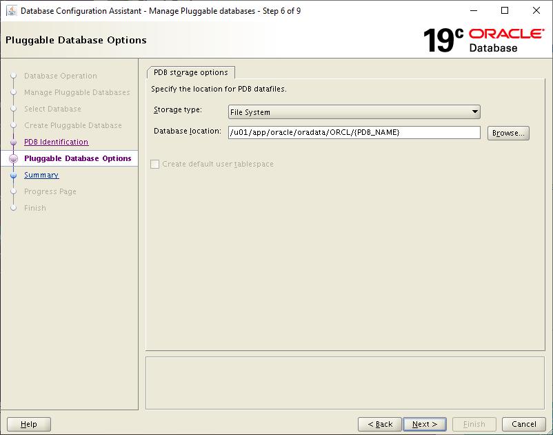 19c dbca - pdb storage options