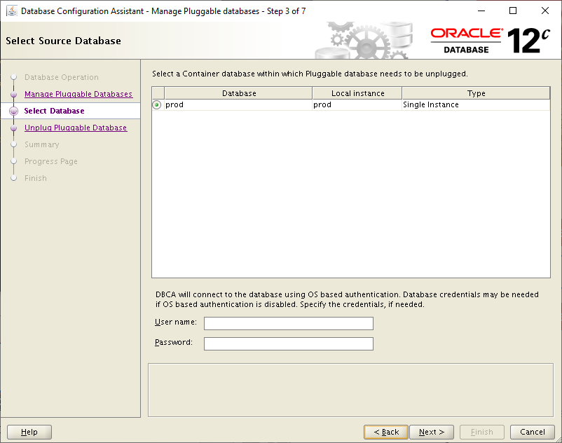 database configuration assistant-select database