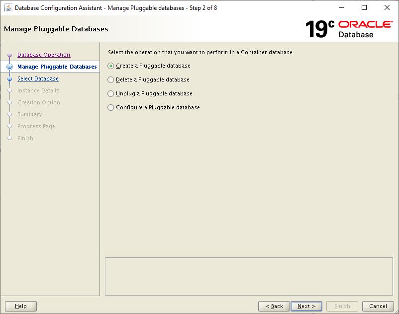 19c dbca - create a pluggable database