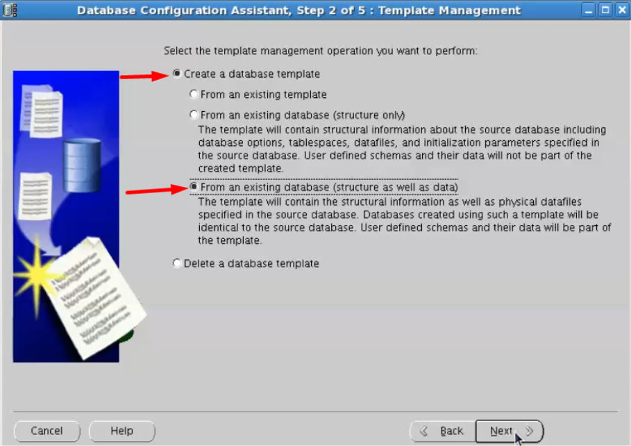 database configuration assistant - create a database template from an existing database