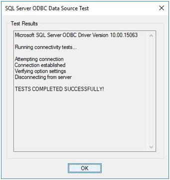 sql server odbc data source test - test data source