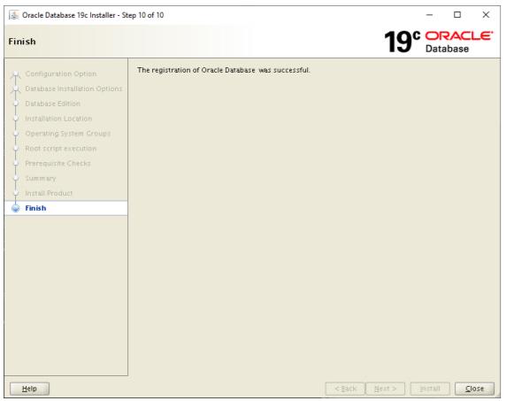 oracle database 19c installer - finish