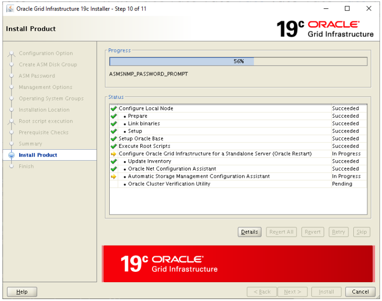 oracle grid infrastructure 19c installer - installation progress