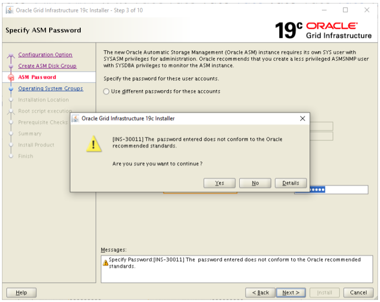 oracle grid infrastructure 19c installer - sysasm password warning