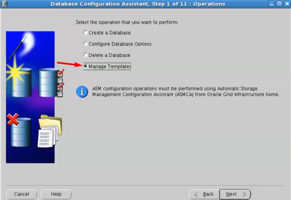 database configuration assistant - manage templates