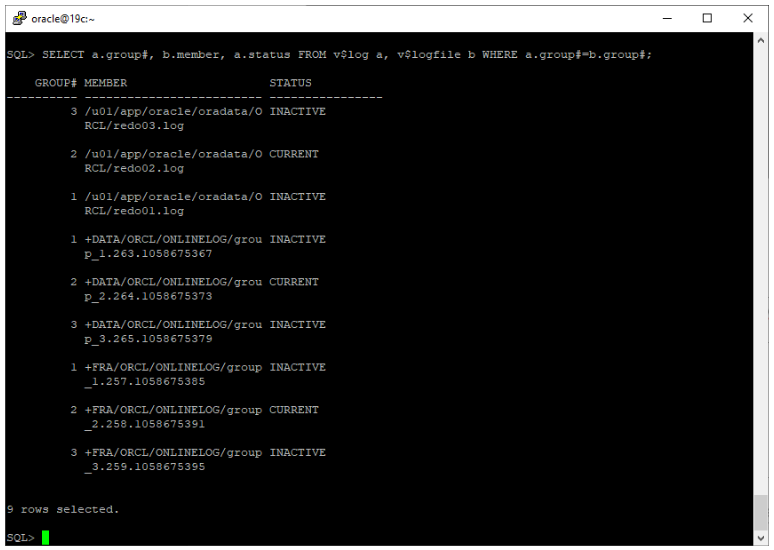 oracle non-asm to asm migration - v$logfile