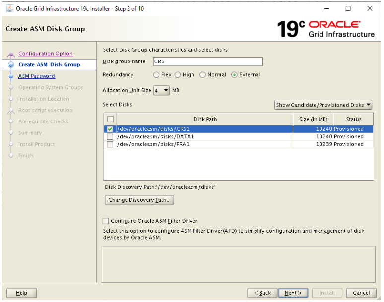 oracle grid infrastructure 19c installer - create asm disk group