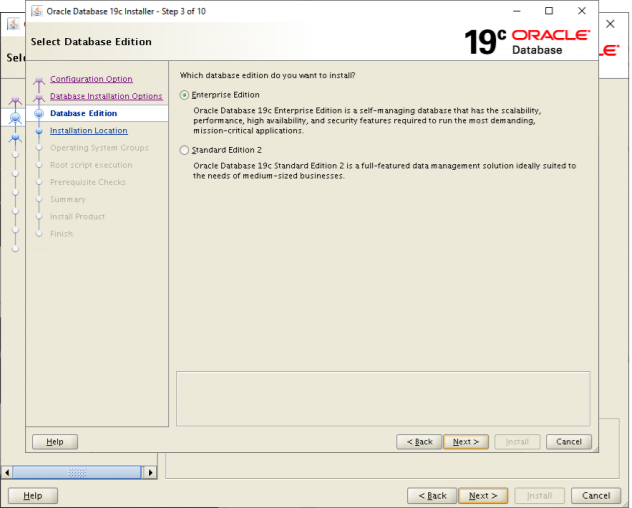 oracle database 19c installer edition - database edition