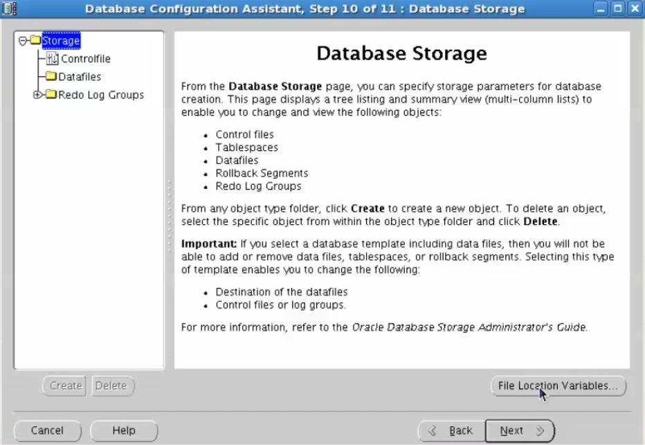 database configuration assistant - database summary