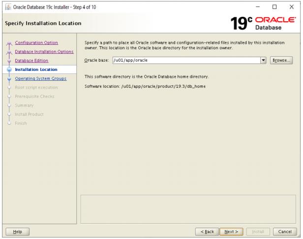 oracle database 19c installer - installation location