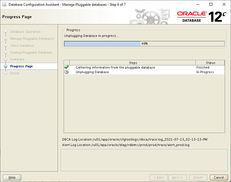 database configuration assistant - unplugging database in progress