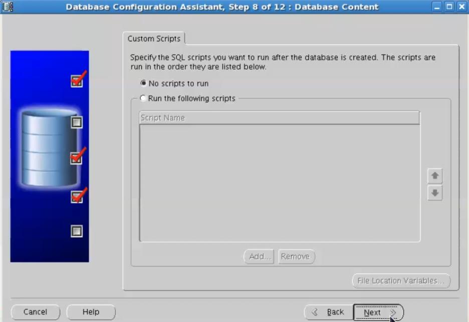 database configuration assistant - custom scripts