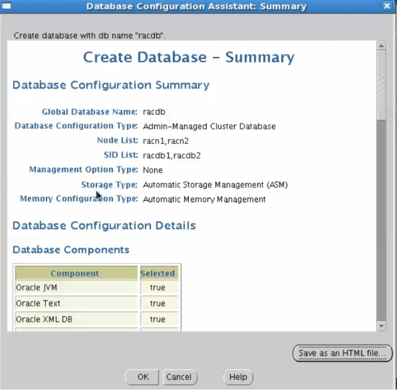 database configuration assistant - create database summary