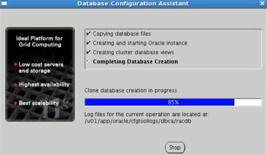 database configuration assistant - create database in progress