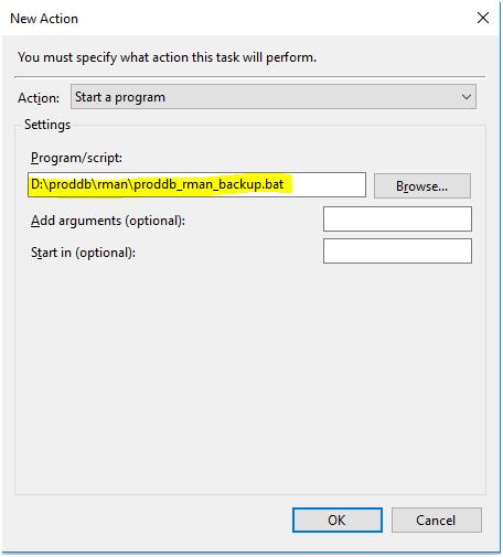 schedule rman backup on windows - program/script