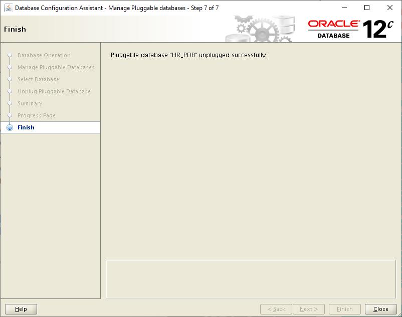 database configuration assistant- pluggable database unplugged successfully