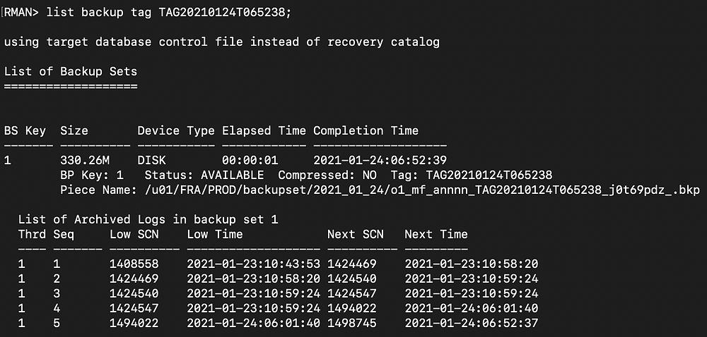 rman duplicate database pitr - rman list backup tag