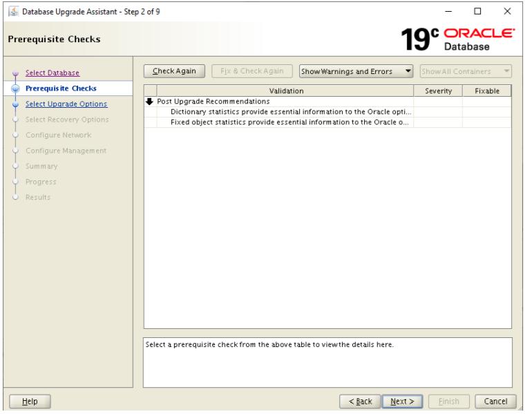 database upgrade assistant - prerequisite checks