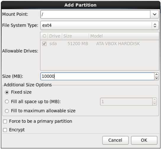 Create boot partition with 512 MB size