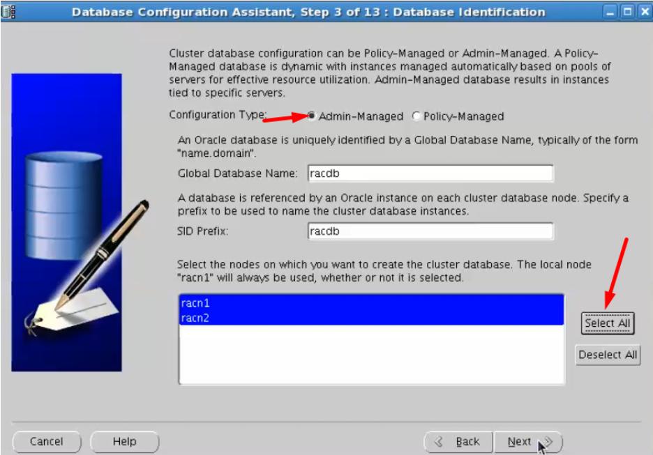 database configuration assistant - configuration type admin-managed