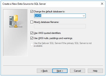 create a new data source to sql server - select database