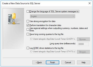 create a new data source to sql server - change language