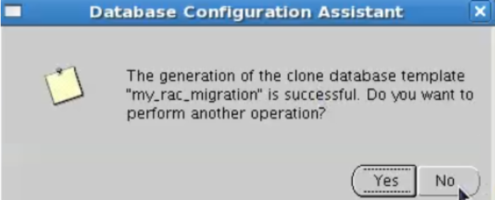 database configuration assistant - template creation successful
